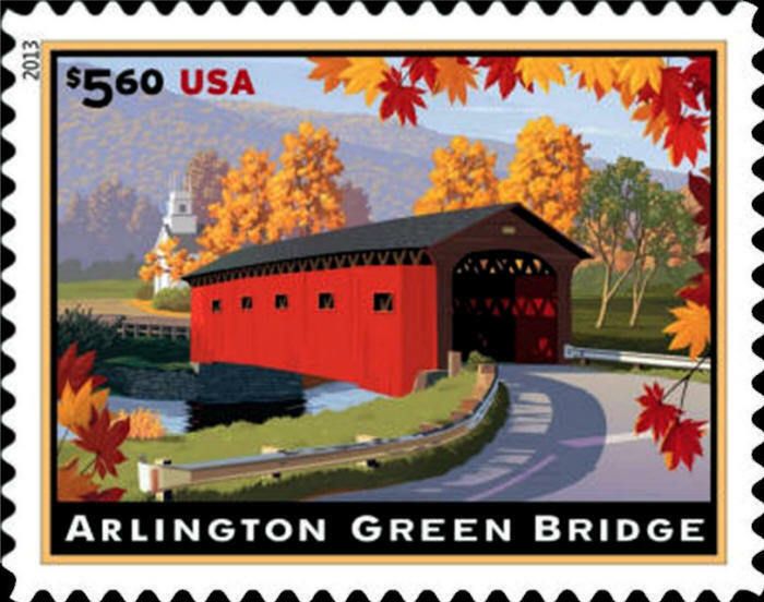 2013 $5.60 Arlington Green Bridge, Vermont, Priority Ma