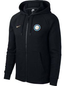 FC Inter Milan Nike Sport Jacket Black Full Zip Hoodie Sportswear ... a345eb900ad