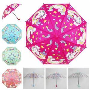 Kids Unicorn Umbrella Girls School Transparent Clear