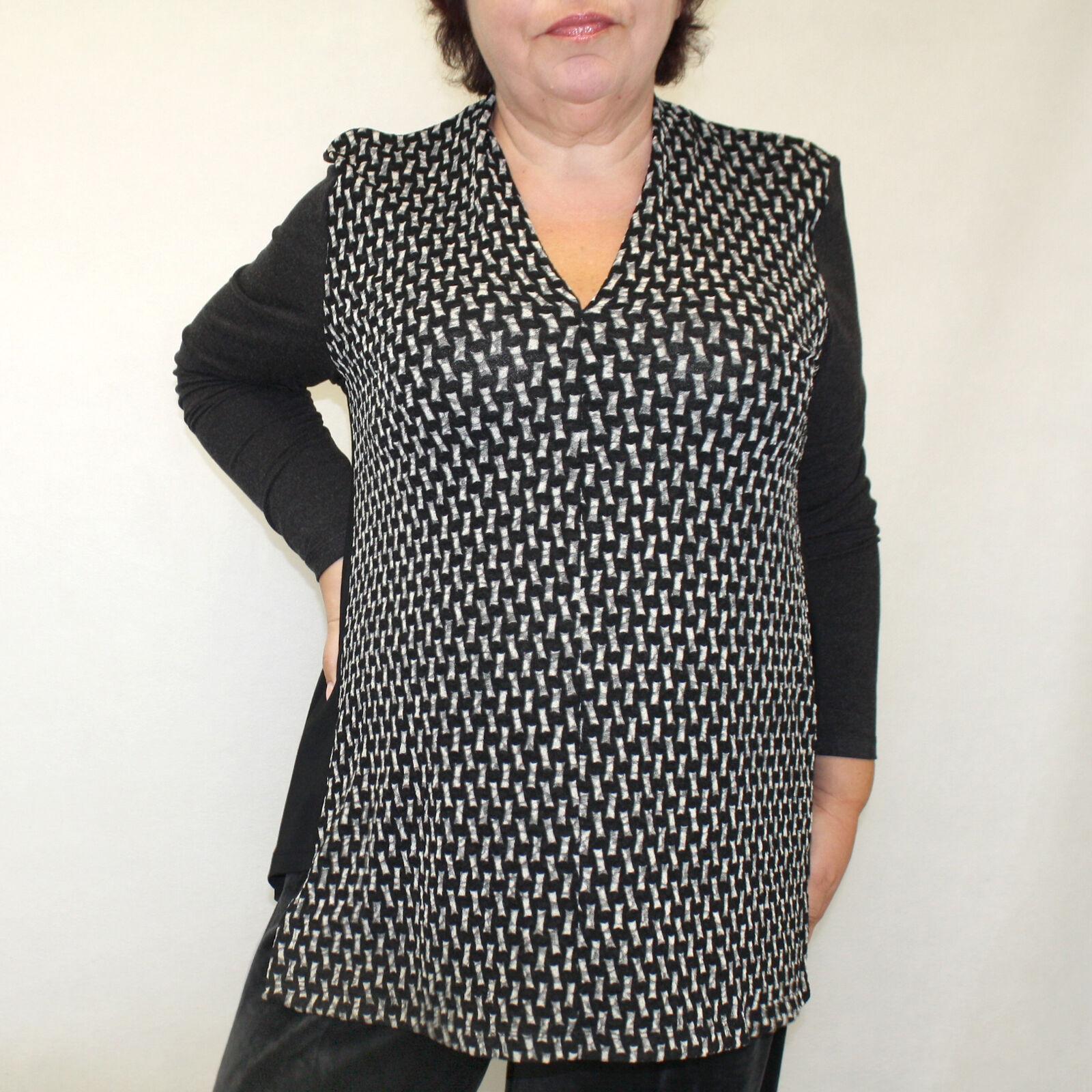 NEW  Alembika Lagenlook Plus Größe Stretchy schwarz Tunic Blouse Top 6 (XL, 1X)