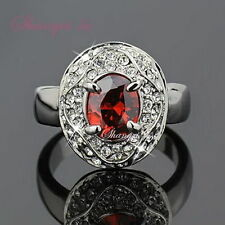 4423 Sz9 18K 18CT White GOLD GP Womens Red GARNET Party RING SWAROVSKI CRYSTAL