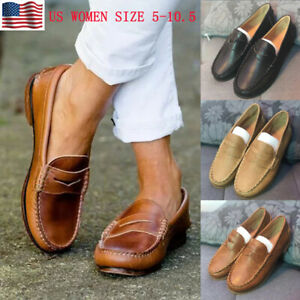 WOMEN-FLAT-LEATHER-MOCCASINS-SHOES-LOAFERS-SLIP-ON-COMFY-CASUAL-SHOES-PUMPS-SIZE