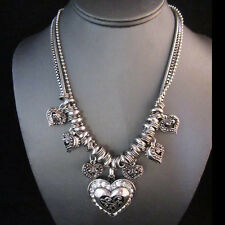 NEW - Brighton Bay Silver Heart Charm Rhinestone Statement Multi Chain Necklace