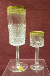 2-BAYEL-French-Crystal-PALAIS-GOLD-Pattern-Champagne-Flute-amp-Cordial