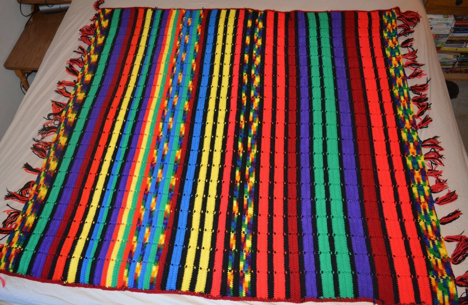 Hand Crocheted Afghan Lap Throw Blanket Southwestern Mexican Rainbow colors MINT