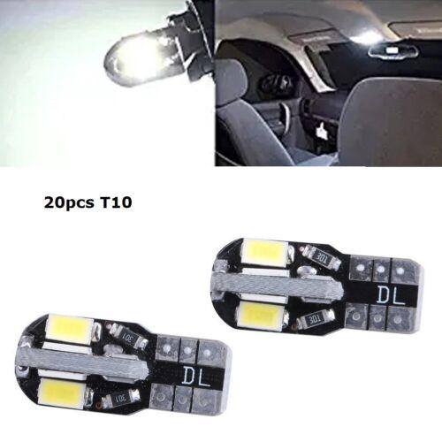 20Pcs Kit White T10 168 8SMD Error Free LED Cat Door License Plate Light Bulbs