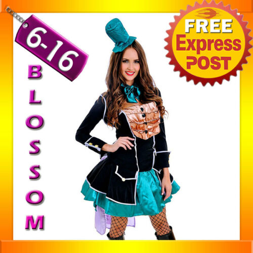 J69 Ladies Mad Hatter Fancy Dress Up Tea Party Alice In Wonderland Hens Costume