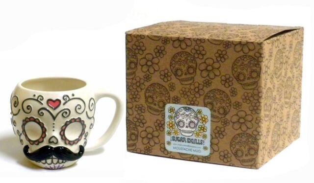 Sugar Skull Mustache Ceramic Coffee Tea Mug Cup 12 oz. Calavera Valentine Gift