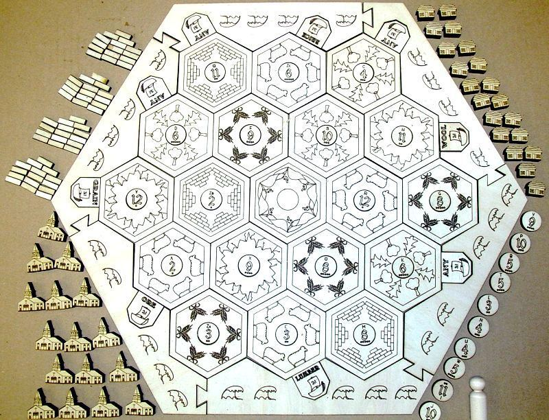 Settlers of Catan Engraved game board Hexagons