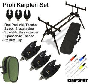 elektronische Bissanzeiger Buzzerbar Ruten Halter Karpfen Rod Pod inkl Tasche