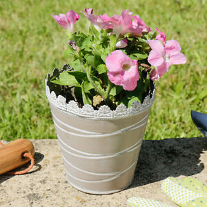 Rustic Vintage French Country Flower Plant Pot Metal Bucket Planter ... f7f7ff85c