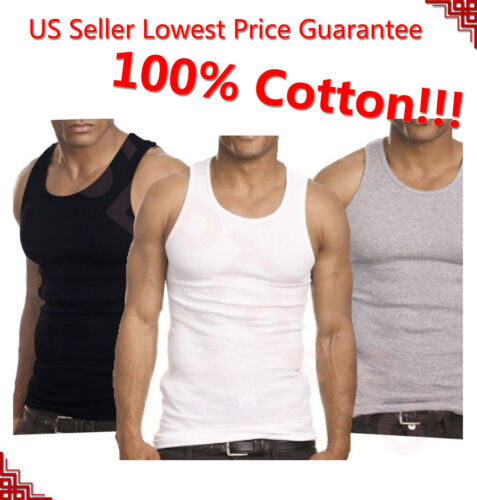 3-12 Packs Mens 100/% Cotton Tank Top A-Shirt Undershirt Ribbed Black White Gray