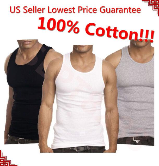 New 3-12 Mens Cotton A-Shirt Tank Top Undershirt Training Sleeveless Gym Sports