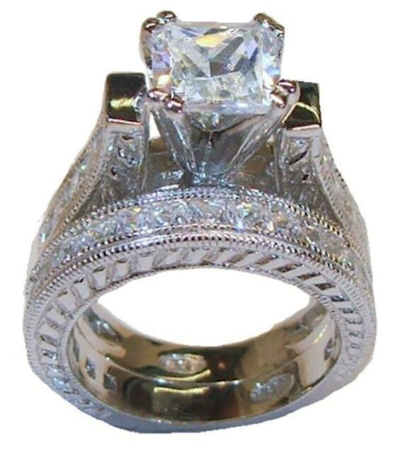 5 CT 925 Sterling Silver Princess Cut Wedding Ring Set