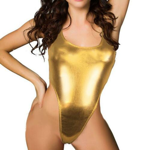 Women Wet Look One-piece Bikini Swimwear Metallic Leotard Bodysuit Clubwear DEA+