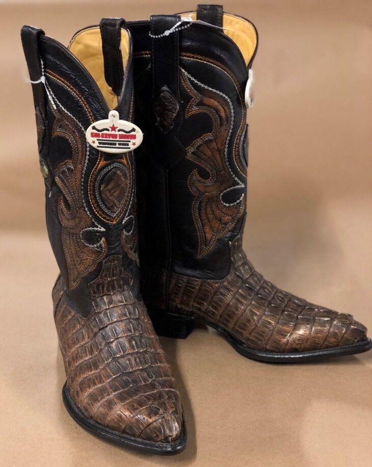 Los Altos Mens Brown  Caiman Gator Tail J-Toe Cowboy Boots Handmade Sz 8.5EE NWOB  cheaper prices