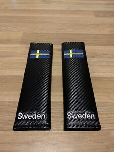 2X Seat Belt Pads Carbon Present Sweden Scania Volvo Saab AB Flag Map World Race