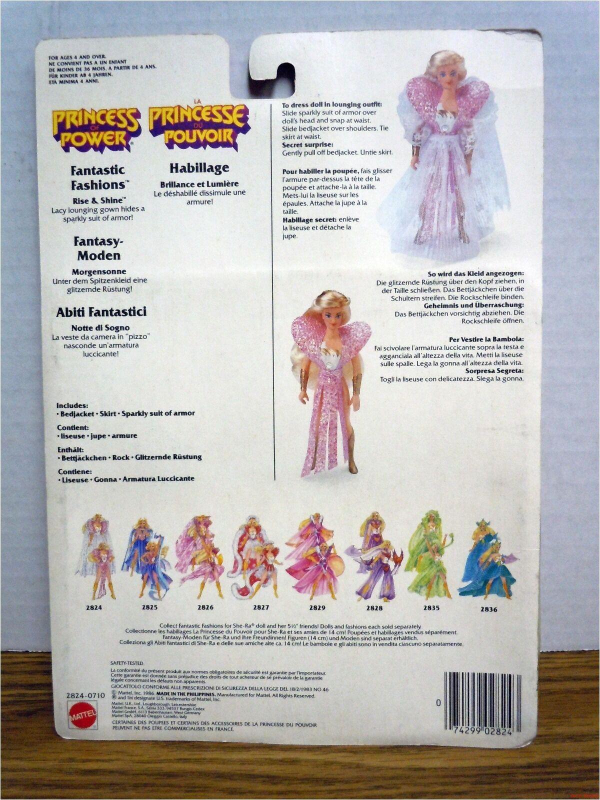 Rise & Shine Fantastic Fashions Princess Princess Princess of Power She-ra New Shera 1986 MOC 80c12c