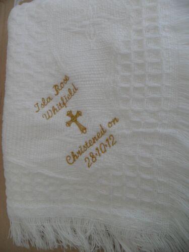 Babys shawl plain or personalised christening//baptism /& cross designs