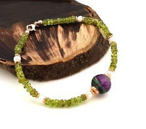 Lina-Soller-925-Silber-Armband-mit-Peridot-21-cm-Rosegold