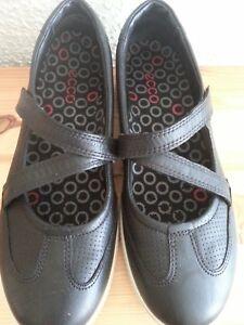 Details zu Ecco soft Spangen Schuhe Gr 38 echt Leder schwarz wenig getragen leicht