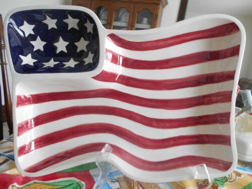 Flag Chip & Dip 15 1/2 W Americana Boston Warehouse Stoneware? Blue White Red !