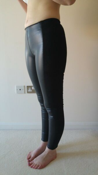 f1dfbad65a50 H&M Size 10 Black Leather Look Suede Leggings Trousers