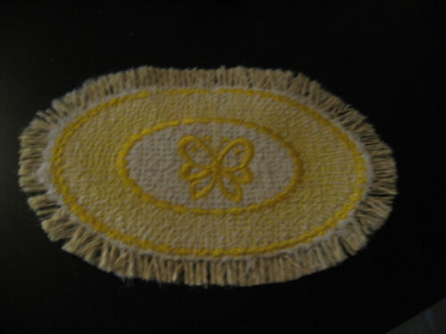 YELLOW BUTTERFLY OVAL  MINI RUG FOR NURSERY IN YOUR MINIATURE DOLLHOUSE