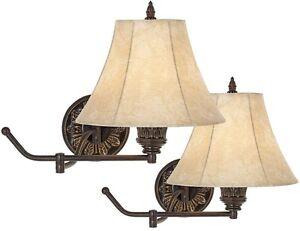 rosslyn vintage adjustable bronze plug in swing arm wall mounted lamps set of 2 ebay. Black Bedroom Furniture Sets. Home Design Ideas