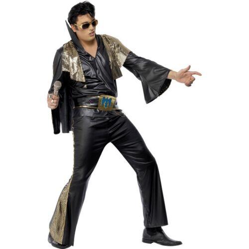 Men/'s Black Elvis Presley Comeback Costume Music King Rock /& Roll Fancy Dress