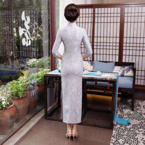 Qipao Lace Grey Luxurious Dress New Cheongsam Lcdress45 Chinese Long Silvery fw7Ptq8T