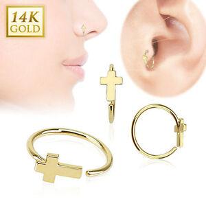 14K Solid Gold CROSS Hoop LOOP RINGS Stud Nose Ear Tragus Daith