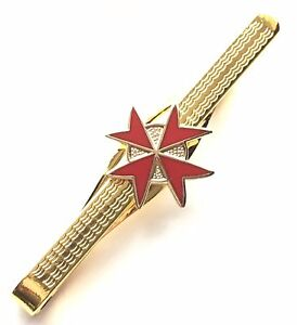 Gift-Boxed-Masonic-Red-Knights-Templar-Enamel-Crested-Tie-Slide-N346