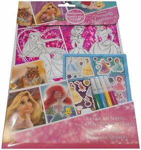 Disney-Princess-Foil-Colouring-Set-Childrens-Activity-Stickers-Stocking-Filler