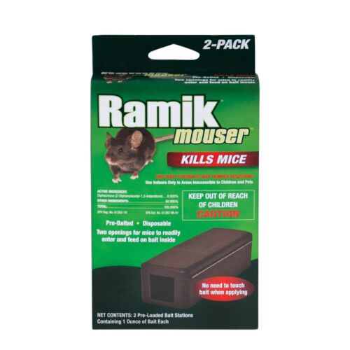2 Pack Ramik Mouser Mice Decon Bait Disposable Pre-Baited Trap for House Garage