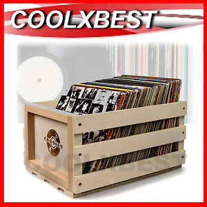 NEW-CROSLEY-VINYL-RECORD-STORAGE-CRATE-CASE-SOLID-WOOD-HOLDS-75