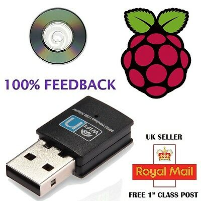 Mini 300Mbps Wireless USB WiFi Network Card LAN Adapter Dongle Raspberry PI 2 UK