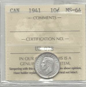 1941-ICCS-Graded-Canadian-10-Cent-MS-64