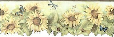 Sunflower with Olive Green Edge Wallpaper Border BG71364DC