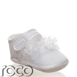 Baby girls white soft sole shoes girls christening shoes flower girl image is loading baby girls white soft sole shoes girls christening mightylinksfo
