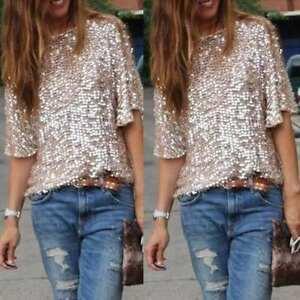 AU-Size6-16-Women-Ladies-Sequin-Sparkle-Glitter-Short-Sleeve-Blouse-Tops-T-Shirt