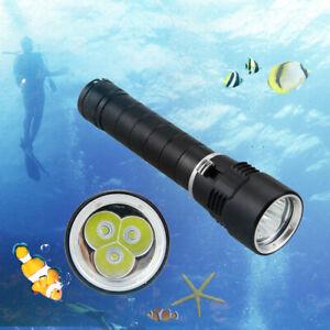 10000Lm-3x-XM-L-T6-LED-Diving-torcia-Torcia-Lampada-subacquea-26650-100m-Dive