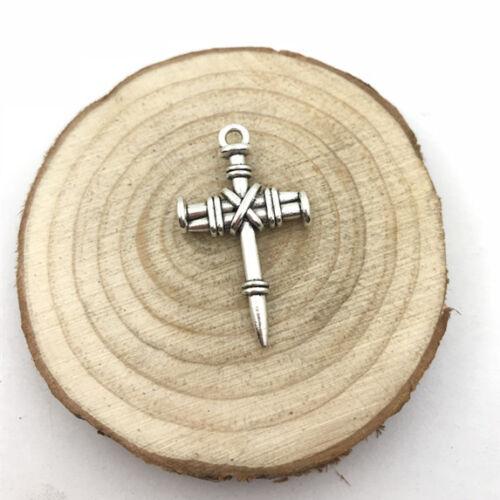 2Pcs Nail Cross Charm Tibetan Silver Tone Pendant  Charms Pendants 34x20mm