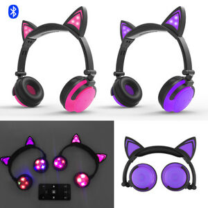 Wireless-Bluetooth-Cat-LED-Light-HIFI-Stereo-Foldable-Headphone-Surround-Sound