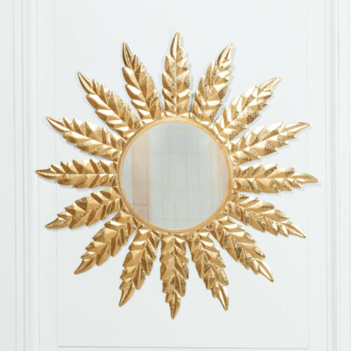 Stylish Large 76cm Round Gold FLOWER Metal Frame Wall Mirror Decor FREE Delivery