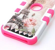 For iPod Touch 5th 6th Gen HARD&SOFT RUBBER HYBRID CASE PINK FLOWER EIFFEL TOWER