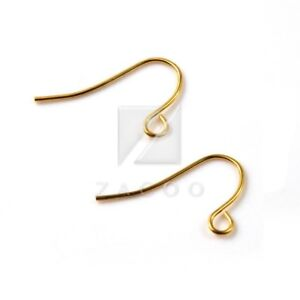 15g-140pcs-Iron-Ear-Hook-Wires-Crafts-Earring-Findings-21x13x0-7mm-Gold