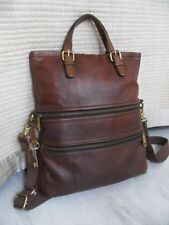 Fossil Explorer Brown Leather Foldover Shoulder Tote Shopper Crossbody Bag Key