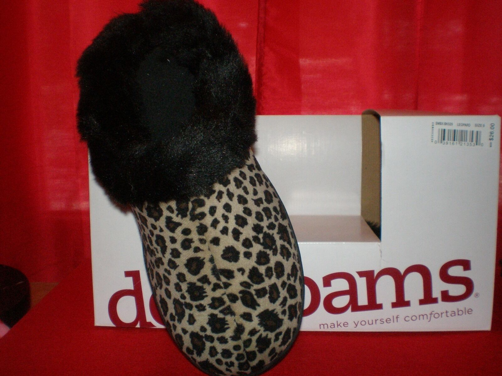 NEW Dearfoams Women's Size 6 Slip On Slippers Leopard Print Inside Outside Wear