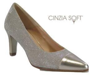 reputable site 79ced a8fca Dettagli su decollette scarpe da donna elegante sera cerimonia classico oro  tacco VERNISSAGE
